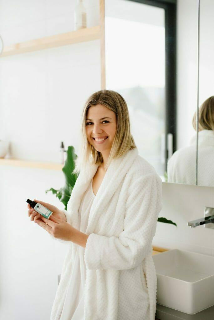 cherish skincare soothing serum - natural skincare - bottle held in hands